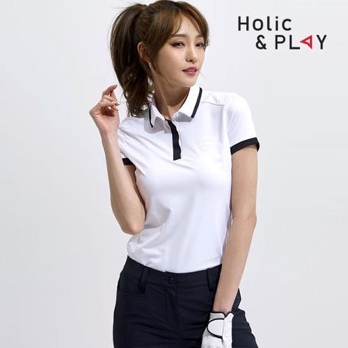 홀릭앤플레이 여성 투톤 배색 반팔티셔츠 HA2WTS008WH