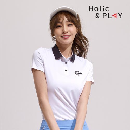 홀릭앤플레이 여성 팝 컬러 반팔티셔츠 HA2WTS007WH