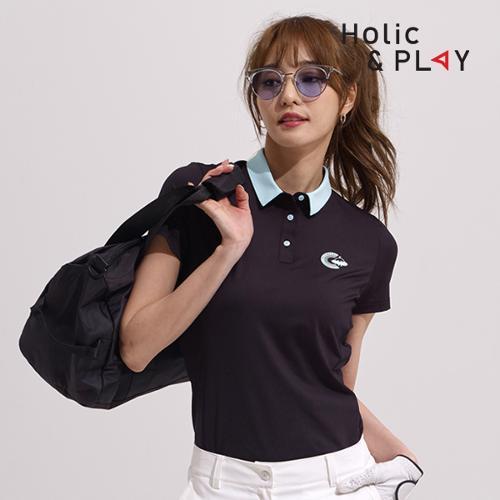 홀릭앤플레이 여성 팝 컬러 반팔티셔츠 HA2WTS007BK