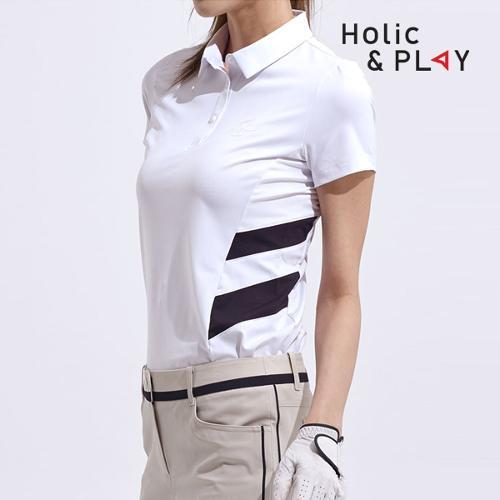 홀릭앤플레이 여성 사선 배색 반팔티셔츠 HA2WTS003WH