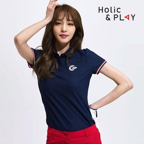 홀릭앤플레이 여성 컬러 소매 반팔티셔츠 HA2WTS001NY