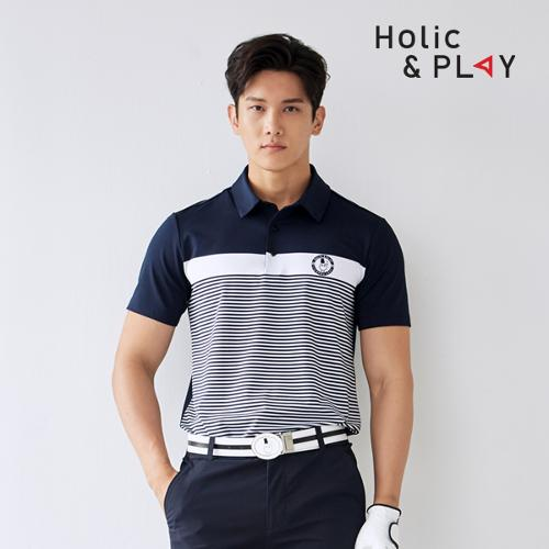 홀릭앤플레이 남성 줄무늬 반팔티셔츠 HA2MTS002NY