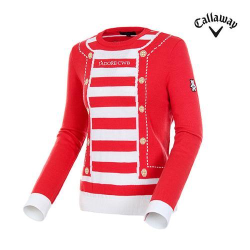 [캘러웨이]여성 스트라이프 배색 라운드넥 스웨터 CWSCH7J04-500_G