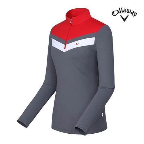 [캘러웨이]여성 절개 배색 하이넥 티셔츠 CWTHF7102-500_G