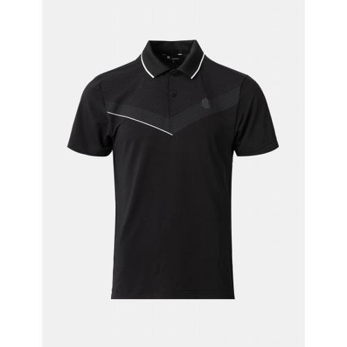 [빈폴골프] [NDL라인] 남성 블랙 스트레치 브이 칼라 티셔츠 (BJ1142M425)