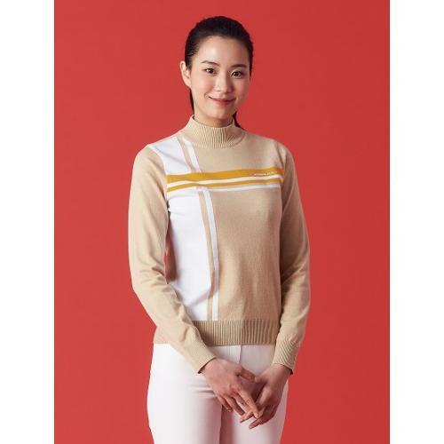 [빈폴골프] 여성 베이지 컬러블럭 풀오버 스웨터 (BJ1151A02A)