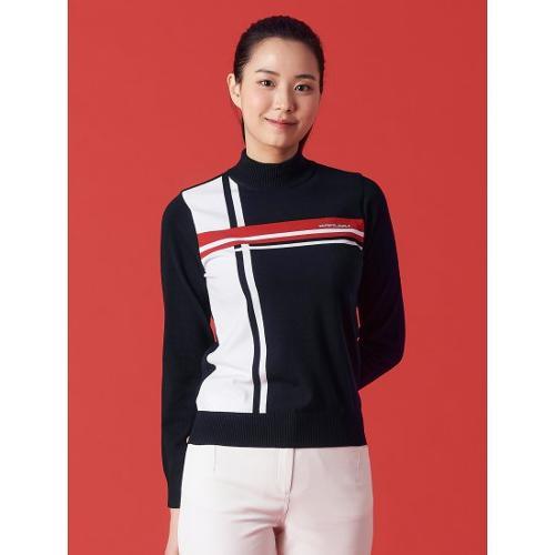 [빈폴골프] 여성 네이비 컬러블럭 풀오버 스웨터 (BJ1151A02R)