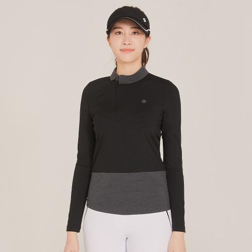 [레노마골프]21SS 여성 사선 지퍼 카라 배색 티셔츠 RWTHK5154-199_G