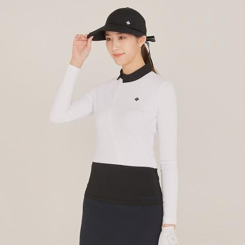 [레노마골프]21SS 여성 사선 지퍼 카라 배색 티셔츠 RWTHK5154-101_G