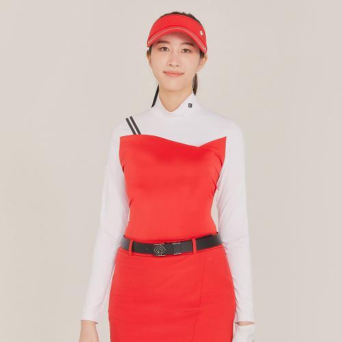[레노마골프]21SS 여성 스포티 컬러블럭 하이넥 티셔츠 RWTHK5105-500_G