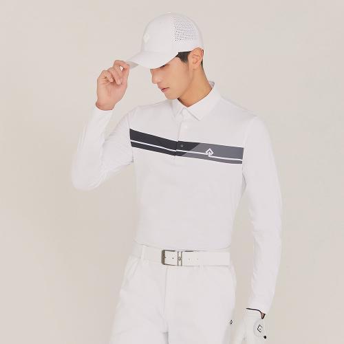 [레노마골프]21SS 남성 앞판 가로 프린트 포인트 카라 티셔츠 RMTYK1153-101_G
