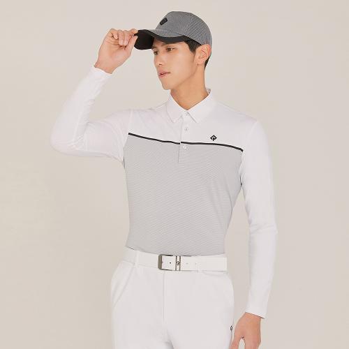 [레노마골프]21SS 남성 소재 믹스 배색 카라 티셔츠 RMTYK1105-101_G