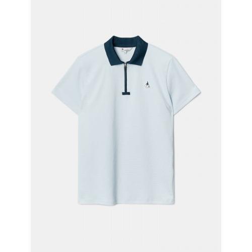 [빈폴골프] 여성 스카이 블루 배색 칼라 반집업 티셔츠 (BJ1342A14Q)
