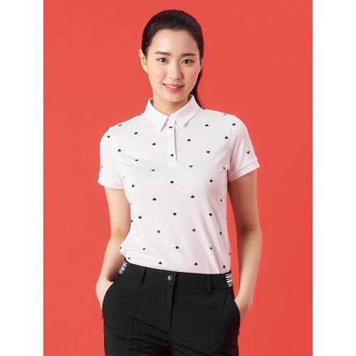 [빈폴골프] 여성 아이보리 하트 올오버 칼라 티셔츠 (BJ1342A150)
