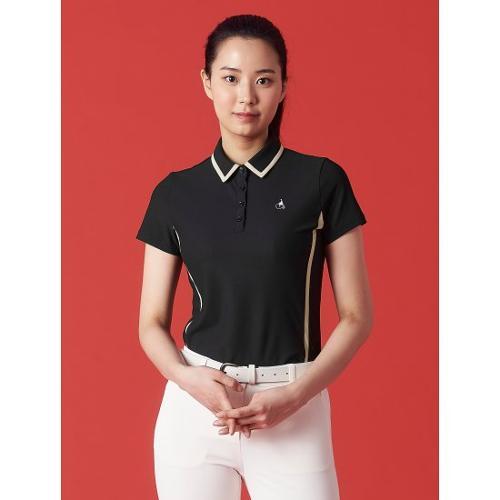 [빈폴골프] 여성 블랙 라인 티핑 칼라 티셔츠 (BJ1342OA15)