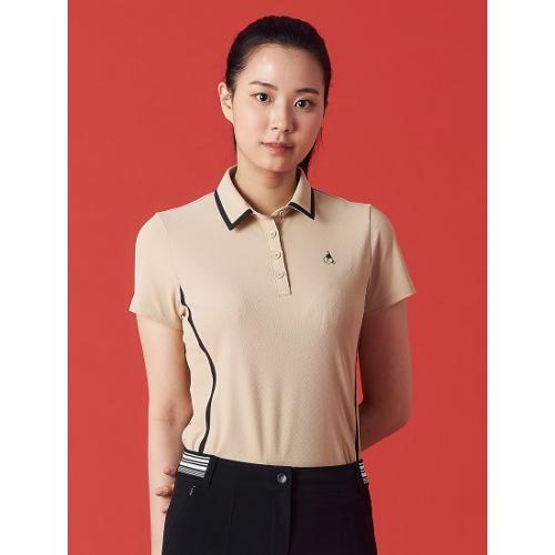 [빈폴골프] 여성 베이지 라인 티핑 칼라 티셔츠 (BJ1342OA1A)