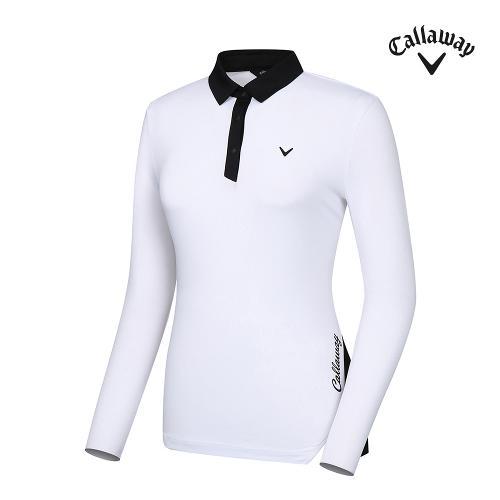 [캘러웨이]21SS 여성 배색 포인트 카라 티셔츠 CWTYK5253-100