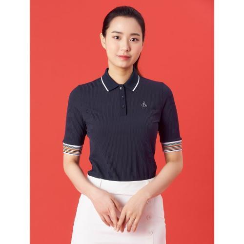 [빈폴골프] 여성 네이비 골지 5부 칼라 티셔츠 (BJ1342A10R)