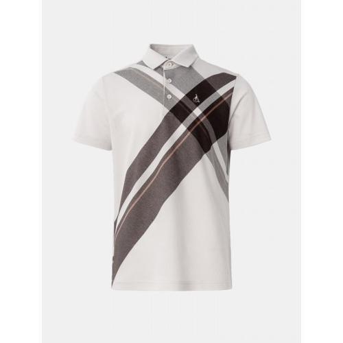 [빈폴골프] 남성 베이지 체크 바이어스 칼라 티셔츠 (BJ1342B03A)