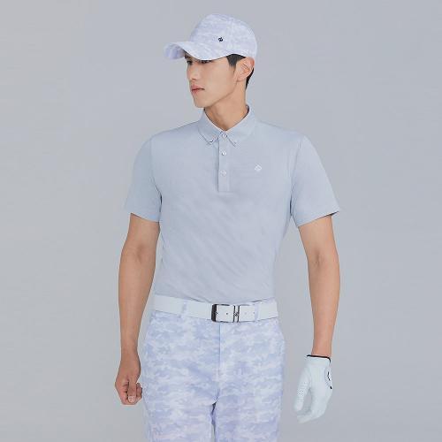 [레노마골프]21SS 남성 심플 잔패턴 카라 반팔 티셔츠 RMTYK2165-101_G