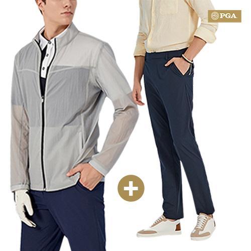 [1+1]PGA 남성 퍼포먼스 라운딩 스윙 재킷 + 바지