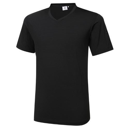 [와이드앵글] 남성 리조트 조직 V넥 반팔 티셔츠 M WMM21271Z1