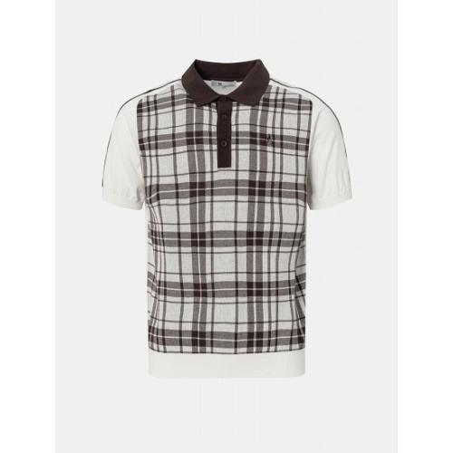 [빈폴골프] 남성 브라운 체크 텍스처 니트 칼라 티셔츠 (BJ1351B03D)