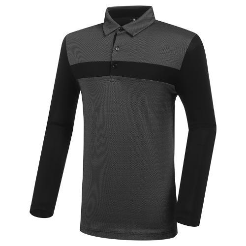 [와이드앵글] 남성 CF W.ICE 자카드 카라 긴팔 티셔츠 M WMM21246Z1