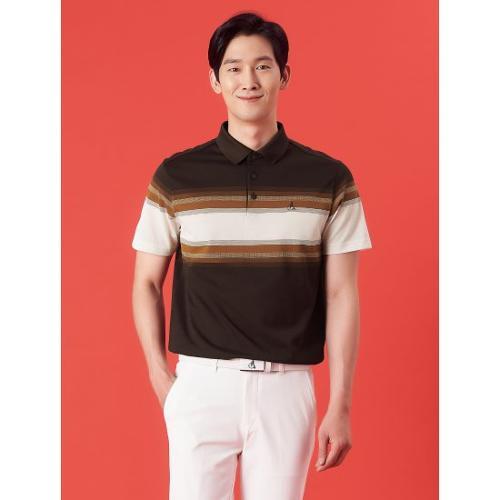 [빈폴골프] 남성 브라운 선염 블록 칼라 티셔츠 (BJ1342B04D)