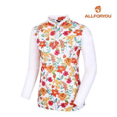 [올포유]여성 꽃 반집업 티셔츠 AWTHJ6119-100_G