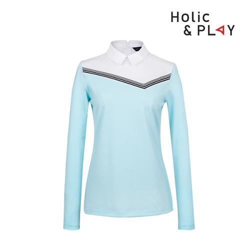 홀릭앤플레이 여성 스판 배색 긴팔티셔츠 HB1WTS002MT