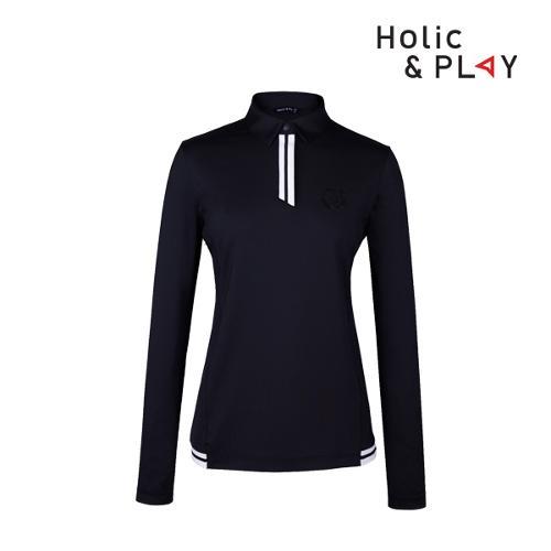 홀릭앤플레이 여성 스판 배색 긴팔티셔츠 HB1WTS001BK