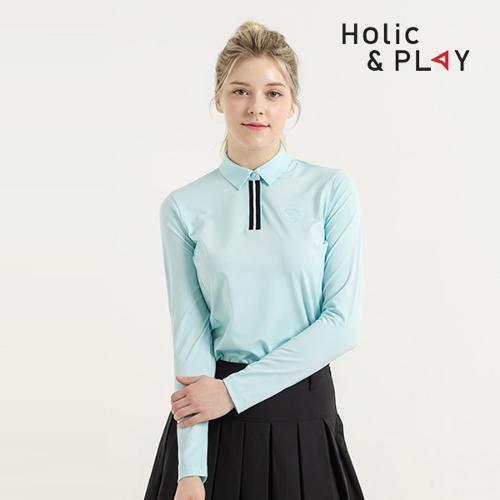 홀릭앤플레이 여성 스판 배색 긴팔티셔츠 HB1WTS001MT