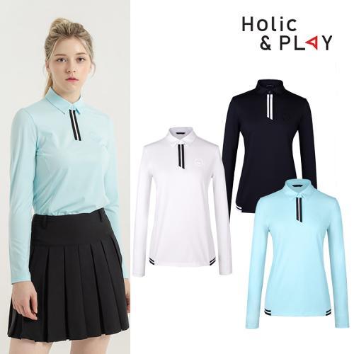 홀릭앤플레이 여성 스판 배색 긴팔티셔츠 HB1WTS001