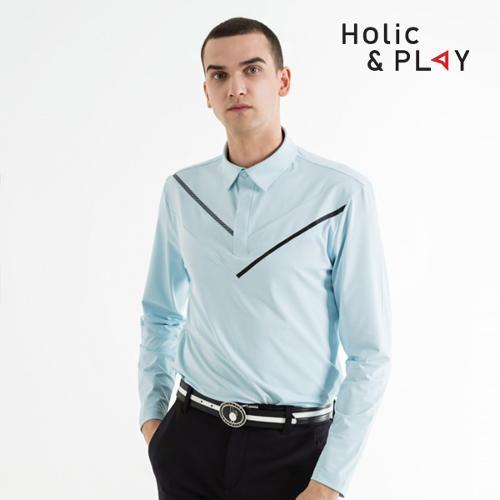 홀릭앤플레이 남성 스판 브이 긴팔티셔츠 HB1MTS001BL