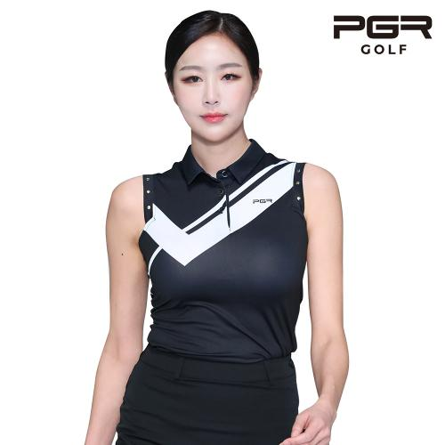 PGR GT-4296 여성골프 가슴포인트 민소매 티셔츠 골프복
