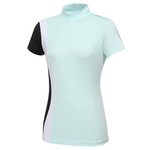 [와이드앵글] 여성 CF FIN FIT 배색 하이넥 반팔 티셔츠 L WWM21251G2