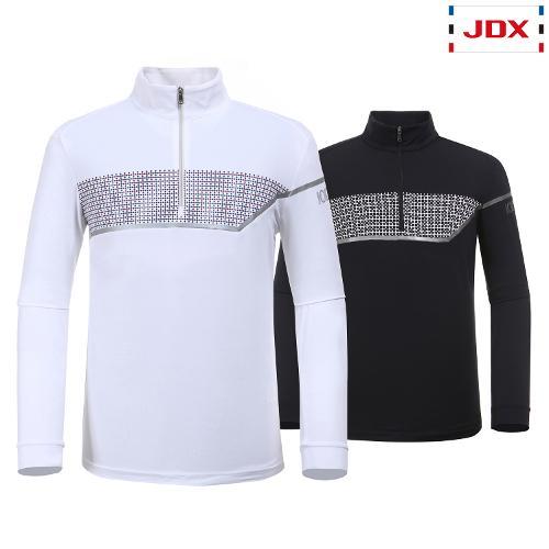 JDX 남성 블럭형 보더 프린트 반집업 티셔츠 2종 택1 X1RSTLM02