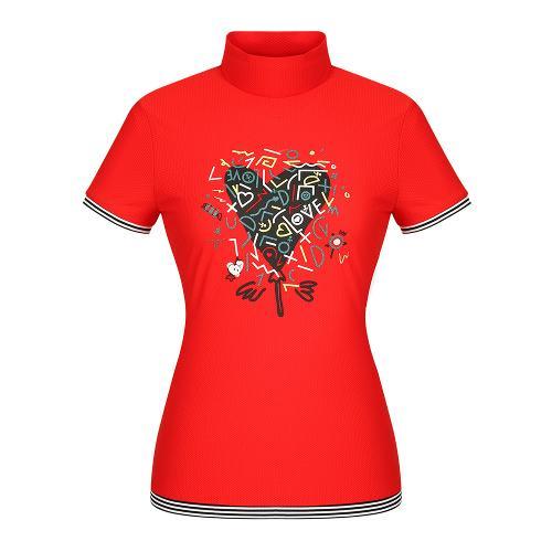 여성 액티비티 하이넥 반팔 티셔츠_BG9MTS715RE