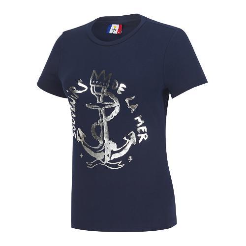 여성 마린 면 스판 반팔 티셔츠_BG9MTS724NY