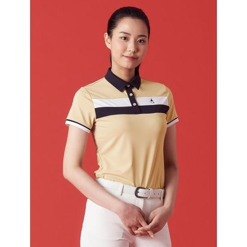 [빈폴골프] 여성 베이지 보더 블록 칼라 티셔츠 (BJ1342OA2A)