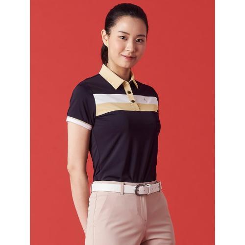 [빈폴골프] 여성 블랙 보더 블록 칼라 티셔츠 (BJ1342OA25)