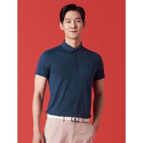 [빈폴골프] 남성 블루 에센셜 솔리드 칼라 티셔츠 (BJ1342OB2P)
