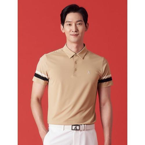 [빈폴골프] 남성 베이지 배색 포인트 칼라 티셔츠 (BJ1342OB1A)