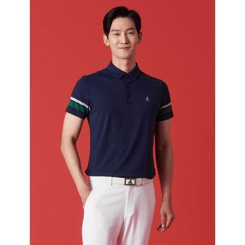 [빈폴골프] 남성 네이비 배색 포인트 칼라 티셔츠 (BJ1342OB1R)
