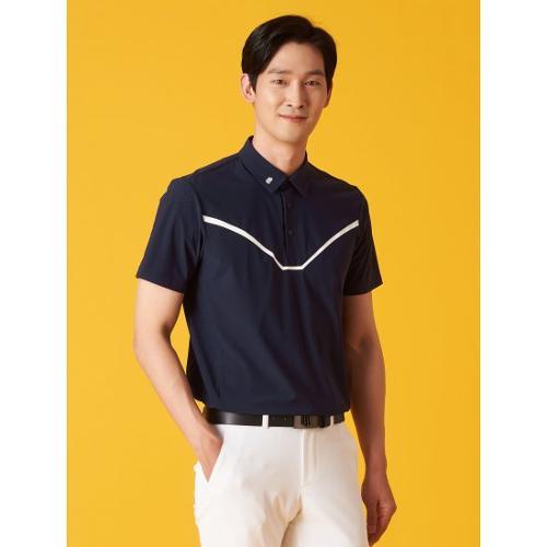 [빈폴골프] [NDL라인] 남성 네이비 펀칭 포인트 칼라 티셔츠 (BJ1342M45R)