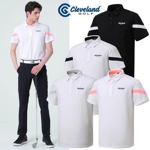 [클리브랜드골프] 어깨 V라인 컬러배색 남성 반팔티셔츠/골프티셔츠/골프웨어_CGKMTS1032