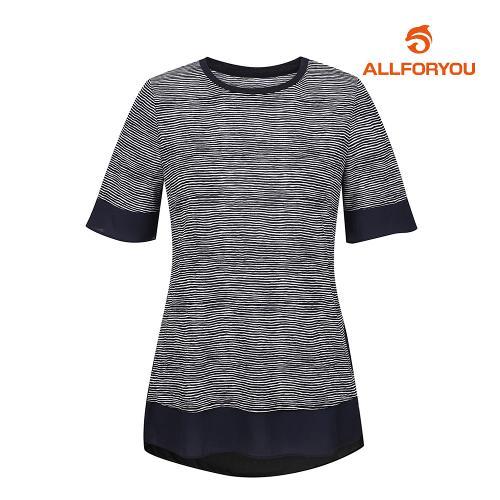 [올포유]여성 패턴 배색 반팔 티셔츠 AWTRI6160-915_G