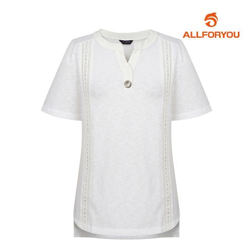[올포유]여성 자수 반팔 티셔츠 AWTRH6R64-100_G