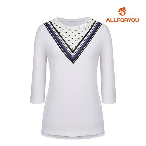 [올포유]여성 브이 배색 반팔 티셔츠 AWTRH6R61-100_G